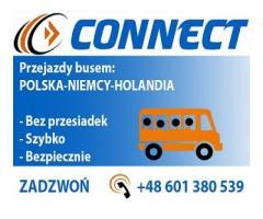 CONNECT Przewozy osób busem Bez Przesiadek Polska Niemcy Holandia +48 601 380 539